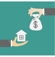 Hands with house and money bag Exchanging concept vector image vector image