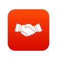 handshake icon digital red vector image