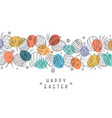happy easter background with ornamental eggs hand vector image vector image
