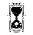human skull in hourglass isolated vector image vector image