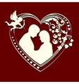 Inside the silhouette hearts couple vector image vector image