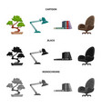isolated object of furniture and work icon vector image vector image