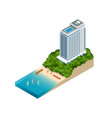 isometric luxury beach hotel and sea view swimming vector image
