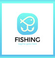 line fish logotype in anchor vector image