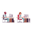 male and female doctor working at the desk with vector image vector image