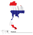 Map of Thailand with flag vector image vector image
