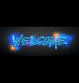 neon light welcome message design vector image