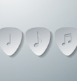 Notes with Guitar Picks White Paper Background