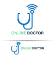 online doctor logo template design on white vector image vector image