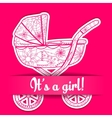 Paper card it s a girl with baby carriage vector image vector image