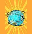planet earth barbed wire vector image vector image