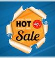 sale banner on torn hole paper vector image vector image