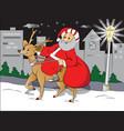 santa riding deer vector image vector image