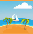 sea landscape with boat on seychelles palm beach vector image