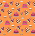 seamless background with cakes birthday party vector image