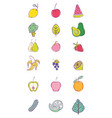 set of fruits collection vector image