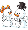 snowmen in love isolated on white - vector image vector image