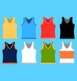 tank top set simple icons yellow red blue vector image vector image
