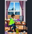 teenager working on his computer vector image