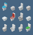 toilet bowl and seat isometric icons vector image