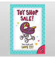 Toy shop sale flyer design with baby stroller vector image vector image