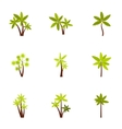 Tree palm icons set flat style vector image vector image