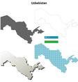 Uzbekistan outline map set vector image vector image