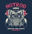 vintage shirt design hotrod custom car vector image vector image