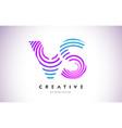 vs lines warp logo design letter icon made vector image vector image