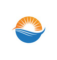 wave beach and sun logo and symbols vector image vector image
