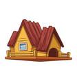 wooden house cartoon vector image vector image