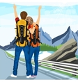 young couple of hitchhikers standing on road vector image vector image