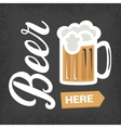 Beer here - vintage poster with lettering and mug vector image