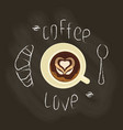 chalk lettering and coffee vector image