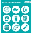 set round icons white Fast food restaurant menu vector image
