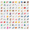 100 lady icons set isometric 3d style vector image