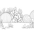 a children coloring bookpage a nature landscape vector image vector image