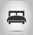 bed icon in flat style bedroom sign on white vector image vector image