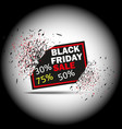 black friday sale with discount 30 50 75 banner vector image