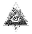 blackwork tattoo flash all seeing eye pyramid vector image