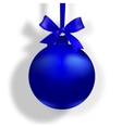 Blue ball with a bow and place for an inscription vector image vector image