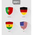 Brazil Soccer Championship 2014 Group G flags vector image