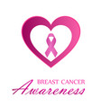 breast cancer awareness ribbon and pink heart vector image
