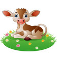 Cartoon cow sitting on grass