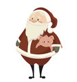 cartoon santa claus with a piglet christmas vector image vector image