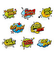 cash back retro comics bubbles icons vector image vector image