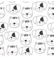 childish seamless pattern with doodle dogs cats vector image vector image