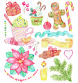 christmas and new year set with holiday dessert vector image