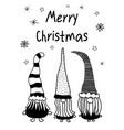 christmas gnomes greeting card template hand vector image