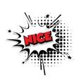 Comic text Nice sound effects pop art vector image vector image
